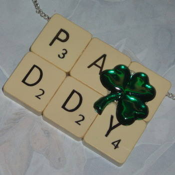 St Patricks Day Scrabble Brooch Pendant Paddy Word Shamrock