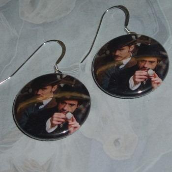 Sherlock Holmes Earrings Watson Badge Sterling Magnifying Glass