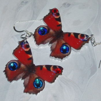 Butterfly Earrings Red Acrylic Laser Sterling Swarovski Meridian Siam