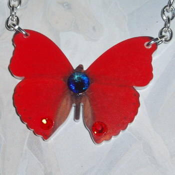 Butterfly Pendant Necklace Red Acrylic Laser Swarovski Meridian Siam