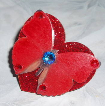 Butterfly Ring Red Acrylic Laser Glitter Heart Swarovski Red Blue