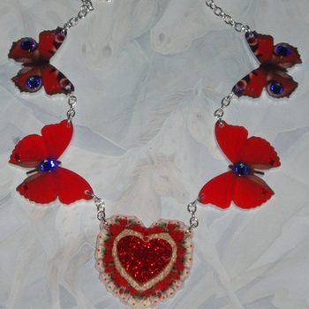 Butterfly Necklace Red Acrylic Laser Swarovski Meridian Siam