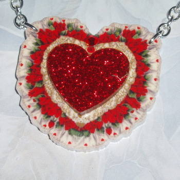 Heart Pendant Necklace Floral Red Glitter Acrylic Laser