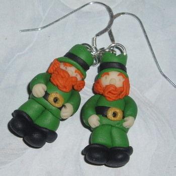 Leprechaun Earrings Men Green Gold Fimo Charm Sterling
