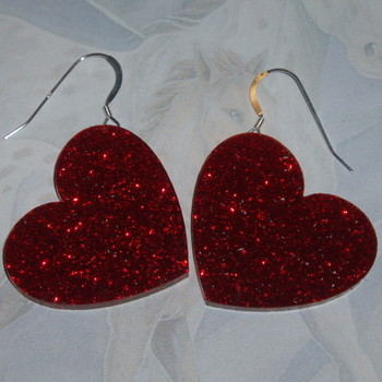 Heart Earrings Large Red Glitter Acrylic Laser Sterling Valentines Day