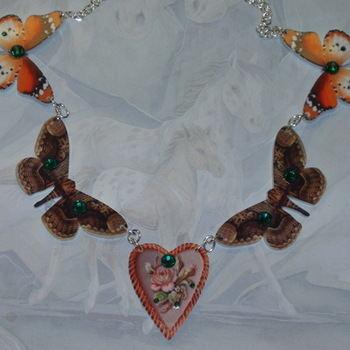Butterfly Necklace Orange Brown Acrylic Laser Swarovski