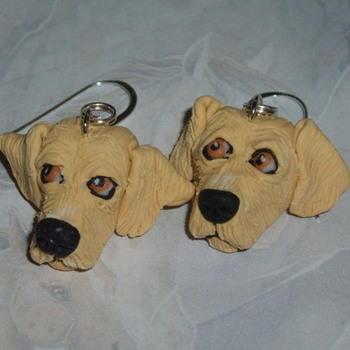 Dog Earrings Golden Retriever Gundog Fimo Handmade Sterling
