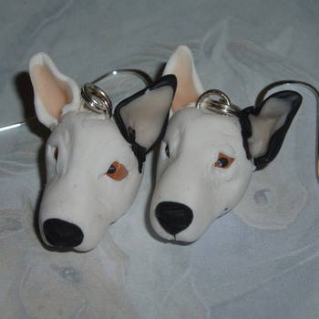 Dog Earrings Bull Terrier White Black Ear Fimo Handmade Sterling