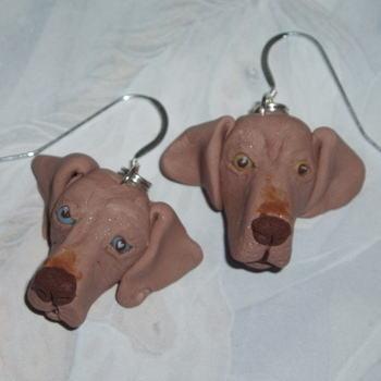 Dog Earrings Weimaraner Gundog Fimo Handmade Sterling