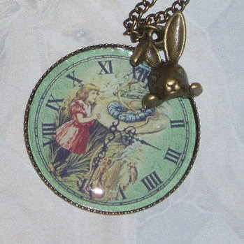 Alice Pendant Green Photo Watch Vintage Brass Rabbit Charm