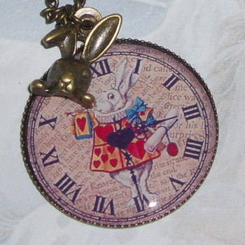 Alice White Rabbit Pendant Photo Hearts Vintage Brass Bunny Charm