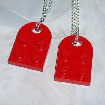 Lego Duo Heart Pendant Red Swarovski Love Rockabilly Retro