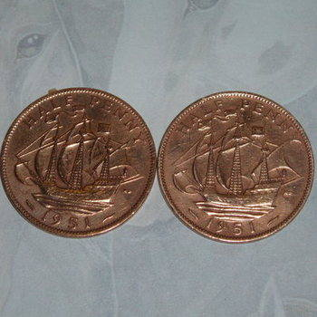 Halfpenny Cufflinks Coins Ships Ha'penny Birthday Anniversary Gift
