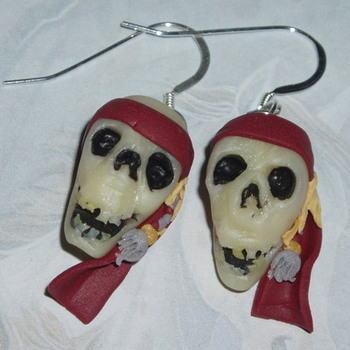 Pirates Caribbean Earrings Captain Jack Sparrow Skull Fimo Sterling