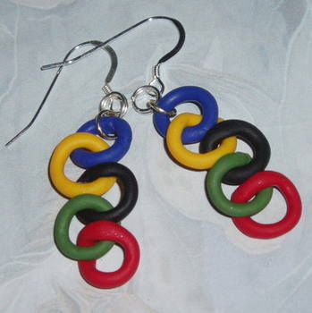 Olympic Rings Earrings Red Green Black Yellow Blue Fimo Sterling