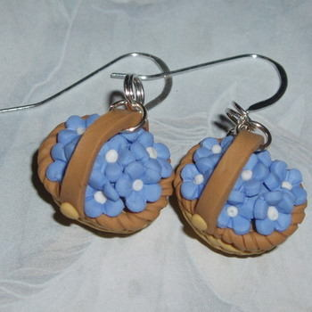 Flower Basket Earrings Fimo Straw Blue Handmade Sterling