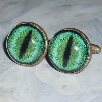 Steampunk Dragon Eye Cufflinks Turquoise Glass Cabochon Antique