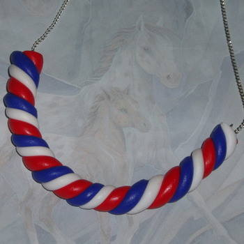 Flump Necklace Twisted Marshmallow British Red White Blue Candy