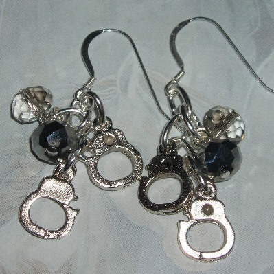 50 Shades Of Grey Earrings Charms Handcuff Crystals Sterling