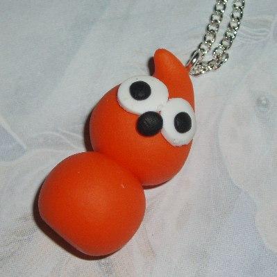Zingy Blob Pendant Necklace Handmade Energy Fimo Orange