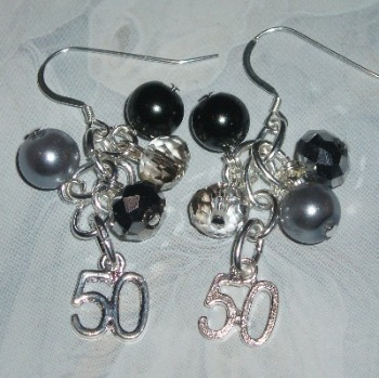 50 Shades Of Grey Earrings Charms Fifty Crystals Sterling
