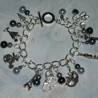 50 Shades Of Grey Charm Bracelet Charms Pearls Handmade
