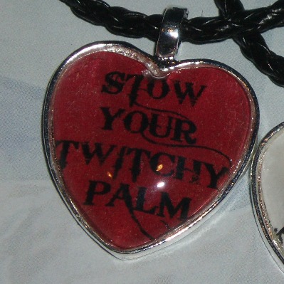 50 Shades of Grey Pendant Necklace Twitchy Palm Heart Cabochon