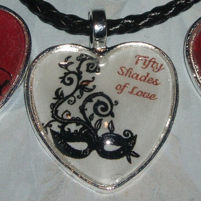 50 Shades of Grey Pendant Necklace Love Heart Glass Cabochon