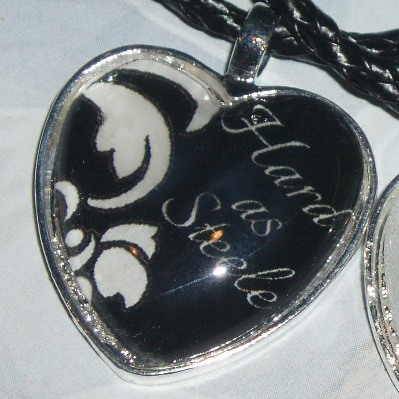 50 Shades of Grey Pendant Necklace Hard Steele Heart Cabochon