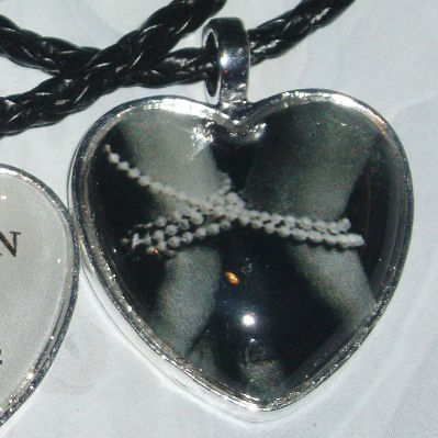 50 Shades of Grey Pendant Necklace Pearl Handcuffs Heart Glass