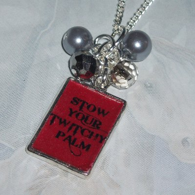 50 Shades of Grey Pendant Necklace Stow Your Twitchy Palm Charm
