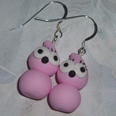 Zingy Blobette Earrings Handmade Energy Fimo Pink