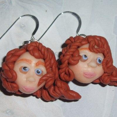 Princess Merida Earrings Brave Red Hair Fimo Sterling