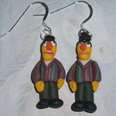 Muppet Earrings Bert Sesame Street Handmade Fimo