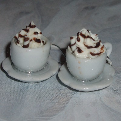 Teacup Earrings Hot Chocolate Whipped Cream Sterling Saucer