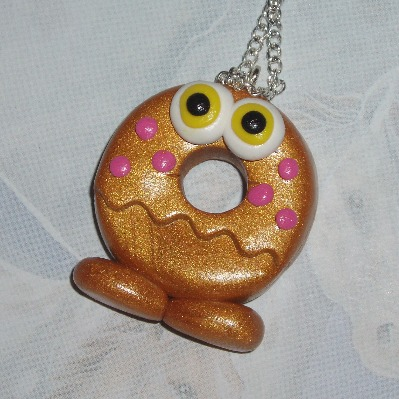 Moshi Monster Pendant Necklace Oddi Gold Fimo Charm