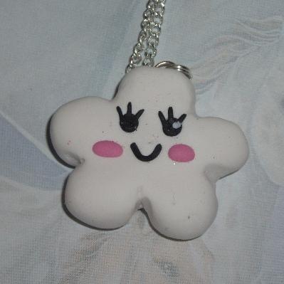 Kawaii Cloud Pendant Necklace Fimo Charm White