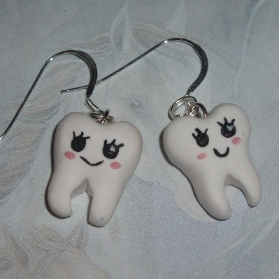 Kawaii Tooth Earrings White Fimo Charms Sterling