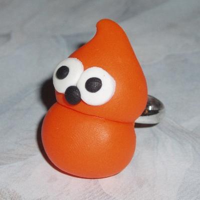 Zingy Blob Ring Handmade Orange Fimo EDF Energy