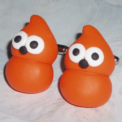 Zingy Blob Cufflinks Handmade Orange Fimo EDF Energy