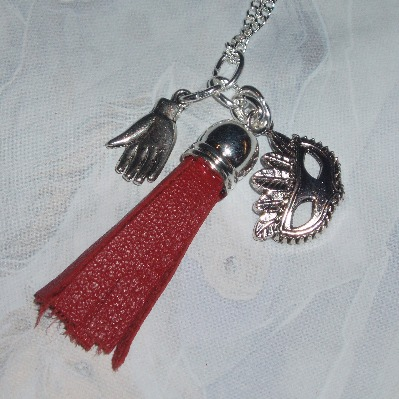 50 Shades of Grey Necklace Red Leather Tassel Charm Recycled