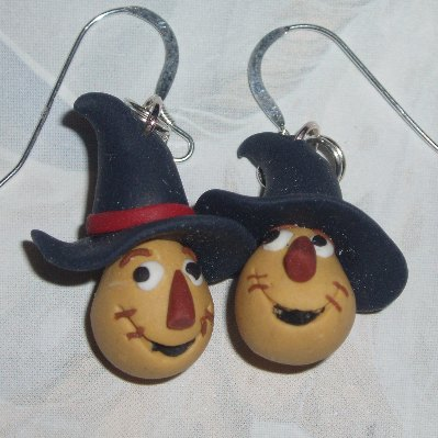 Dorothy Earrings Scarecrow Handmade Fimo Sterling