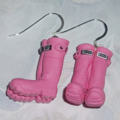 Welly Earrings Pink Wellies Fimo Sterling Handmade