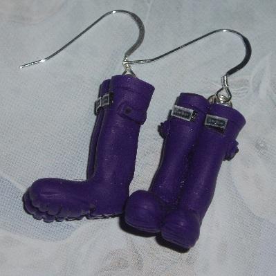 Welly Earrings Purple Wellies Fimo Sterling Handmade