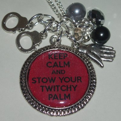 50 Shades Grey Keep Calm Twitch Palm Photo Charm Necklace