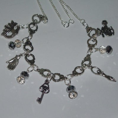 50 Shades of Grey Handcuffs Necklace Charms Crystals Large
