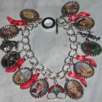 Wizard of Oz Charm Bracelet Dorothy Glinda Witch Ruby Slippers