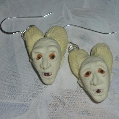 Dracula Earrings Fimo Handmade Vampire Horror Halloween