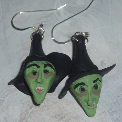Witch Earrings Green Face Wicked West Fimo Halloween