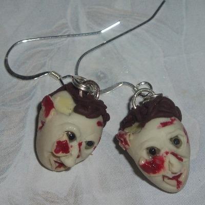 Zombie Earrings Fimo Handmade Head Horror Halloween Gruesome